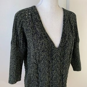 Express Olive Green Marled Cable Knit Sweater {KB}